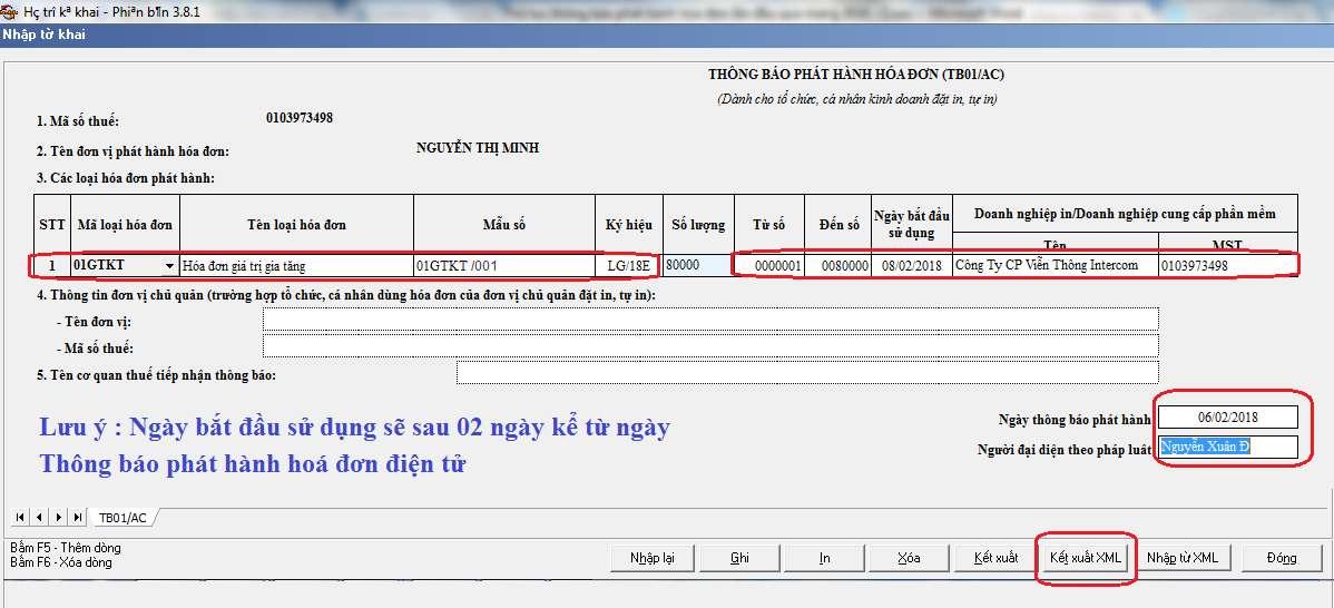 Thông báo phát hành hóa đơn điện tử trên HTTK