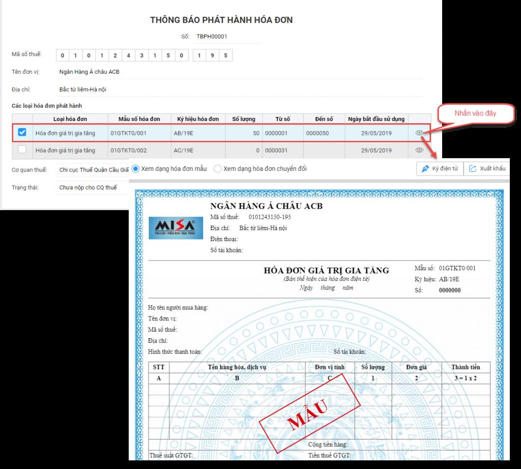 lập thông báo phát hành hóa đơn điện tử trên meInvoice.vn